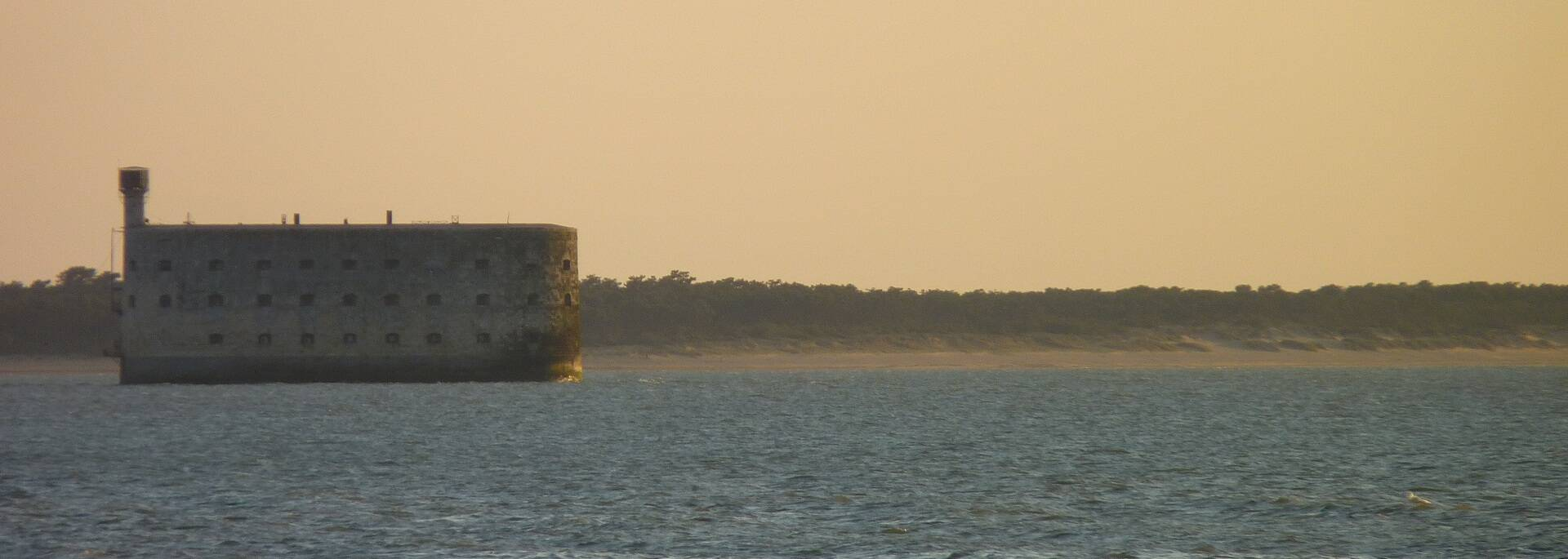 Fort Boyard, with the plage des Saumonards in the distance